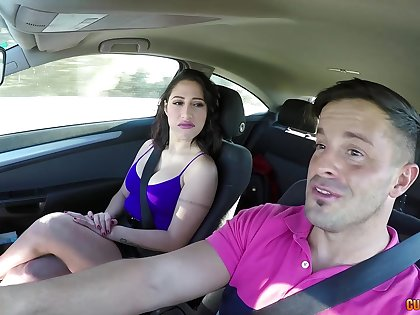 Busty babe enjoys a ride home with a big dick in the ass