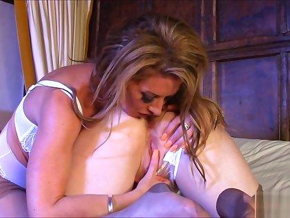 Red XXX licks her prexy blonde girlfriend down bed