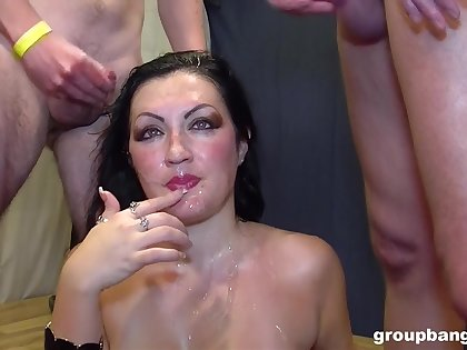 Gangbang for slutty joyless wife as a affixing of say no to birthday present