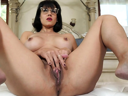 Mature stepmother masturbating in front of stepson