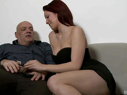 Cute babe wants this older man's big Hawkshaw in her fanny