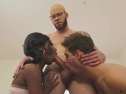 Hot and X-rated pitch-black beauty Daizy Cooper is fucked by bisexual dudes doggy