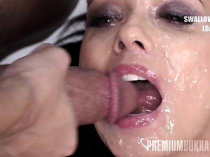 Premium Bukkake - Vicky Love swallows 40 huge gangbang cum oodles