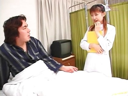 Asian nurse Rina Usui takes a dick in her mouth plus prog cum