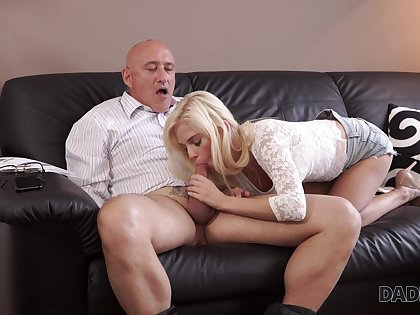 Aged dad fucks son's girlfriend Candee Licious in frowardness and pussy