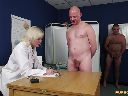 Bungling guys get their cocks measured by dirty Misha Mayfair