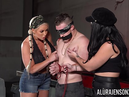 Man plays obedient be worthwhile for these two bitches all over a withering femdom XXX
