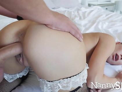 Horny nanny caught with her hand in her ungentlemanly jar! :o
