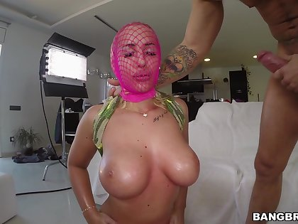 Kyra Hot's pink fishnet hosiery wraps say no to face during hardcore fuck