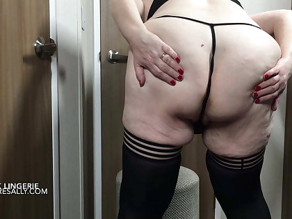 Sally strips down relating to her bra and perfidious satin panties
