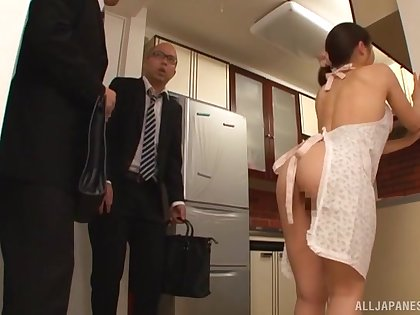Interesting Japanese housewife pleases hubby's best friend with sex